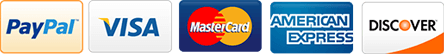 Paypal, Visa, Mastercard, American Express, Discover accepted